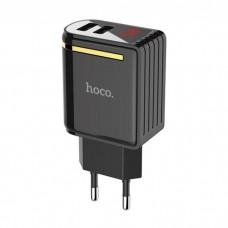 Polnilec / adapter USB, univerzalni, dvojni, LED prikazovalnik, 2.4A, črn
