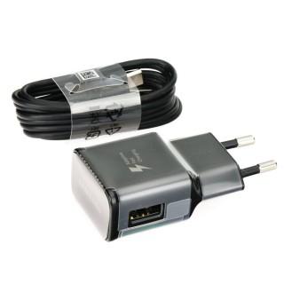 Polnilec za telefone Samsung EP-TA20EBE s kablom USB-C, originalni, črn, 2A