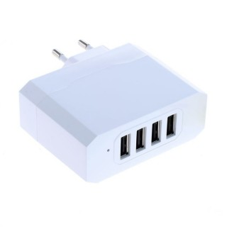 Polnilec / adapter USB, univerzalni, štirje izhodi USB, funkcija AutoID, 4.8A