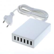 Polnilec / adapter USB, univerzalni, šest izhodov USB, funkcija AutoID, 12A