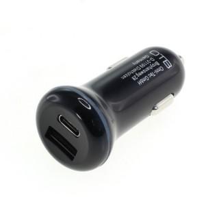 Avtomobilski polnilec za naprave s priključkom USB-C / USB-A, dvojni, 30W