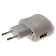 Polnilec / adapter USB, univerzalni, bel, 1A