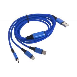 Podatkovni kabel iz USB-A na MicroUSB 2.0 / USB-C / Lightning, 1.75m