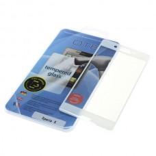 Kaljeno zaščitno steklo za Sony Xperia X, Full Cover 3D, belo