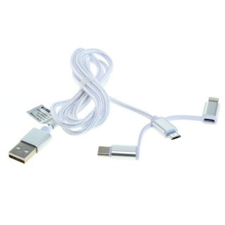 Podatkovni kabel iz USB-A na MicroUSB 2.0 / USB-C / Lightning, 1.00 m